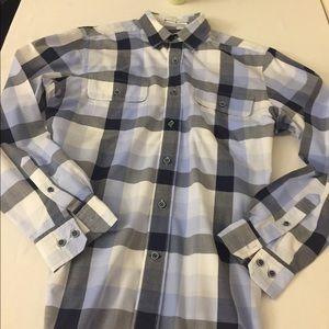 Men's Nautical Blue Grey Plaid shirt lg sleeve Med